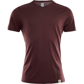 Aclima LightWool V-hals T-shirt Heren, bitter chocolate